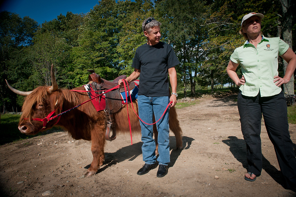 Presidential hopeful, former New Mexico Governor Gary Johnson talks about farming issues with Carole Soule of Miles Smith farm in Loudon, NH. 23rd of august 2011.