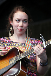 04 May 2012. New Orleans, Louisiana,  USA. .New Orleans Jazz and Heritage Festival. .Sarah Jarosz, Grammy award nominated bluegrass multi instrumentalist with a beautiful voice..Photo; Charlie Varley.