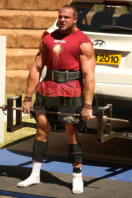 Travis Ortmayer (USA) shows great strength and determination competing in the deadlift event with an injured ankle during the final rounds of the World's Strongest Man competition held in Sun City, South Africa.