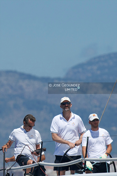 Prince Felipe of Spain participate on the 32th Copa del Rey Mapfre Sailing Cup in Palma de Mallorca, Spain.