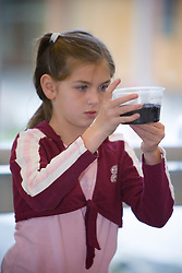 United States, Washington, Bellevue, girl at school in science class