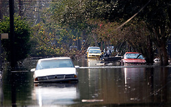 05 Sept  2005. New Orleans, Louisiana. Post hurricane Katrina.<br /> Uptown New Orleans off Napolean Ave has been submerged by the devastating floods.<br /> Photo; ©Charlie Varley/varleypix.com