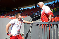 (L) Jakub Szyszkowski of Poland with his (R) trainer coach Henryk Olszewski while men's shot put qualification during the First Day of the European Athletics Championships Zurich 2014 at Letzigrund Stadium in Zurich, Switzerland.<br /> <br /> Switzerland, Zurich, August 12, 2014<br /> <br /> Picture also available in RAW (NEF) or TIFF format on special request.<br /> <br /> For editorial use only. Any commercial or promotional use requires permission.<br /> <br /> Photo by © Adam Nurkiewicz / Mediasport