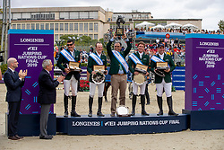 Team Ireland, Moloney Peter, O'Shea Paul, Pessoa Rodrigo, Kenny Dharragh, O'Connor Cian<br /> Longines FEI Jumping Nations Cup Final<br /> Challenge Cup - Barcelona 2019<br /> © Dirk Caremans<br />  06/10/2019
