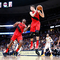 09 April 2018: Portland Trail Blazers center Zach Collins (33) grabs a rebound next to Portland Trail Blazers forward Ed Davis (17) during the Denver Nuggets 88-82 victory over the Portland Trail Blazers, at the Pepsi Center, Denver, Colorado, USA.