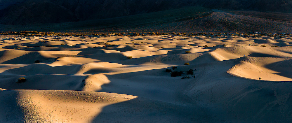 The late-day sun falls on the dunes in Death Valley National Park.