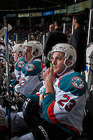 KELOWNA, CANADA - FEBRUARY 1: Brothers Erik Gardiner #12 and Reid Gardiner #23 of the Kelowna Rockets sit on the bench against the Calgary Hitmen on February 1, 2017 at Prospera Place in Kelowna, British Columbia, Canada.  (Photo by Marissa Baecker/Shoot the Breeze)  *** Local Caption ***