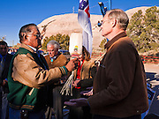 31 OCTOBER 2010 - WINDOW ROCK, AZ:   Jack Jackson Sr. blesses Terry Goddard during a traditional Dine ceremony before a Democratic rally in Window Rock.  Goddard, and the other Democrats on the statewide ticket, campaigned in Window Rock and Kingman on Halloween. Goddard ended the day with a press conference in front of the Executive Office Tower at the State Capitol in Phoenix. Goddard lost the election to sitting Governor Jan Brewer, a conservative Republican.     PHOTO BY JACK KURTZ