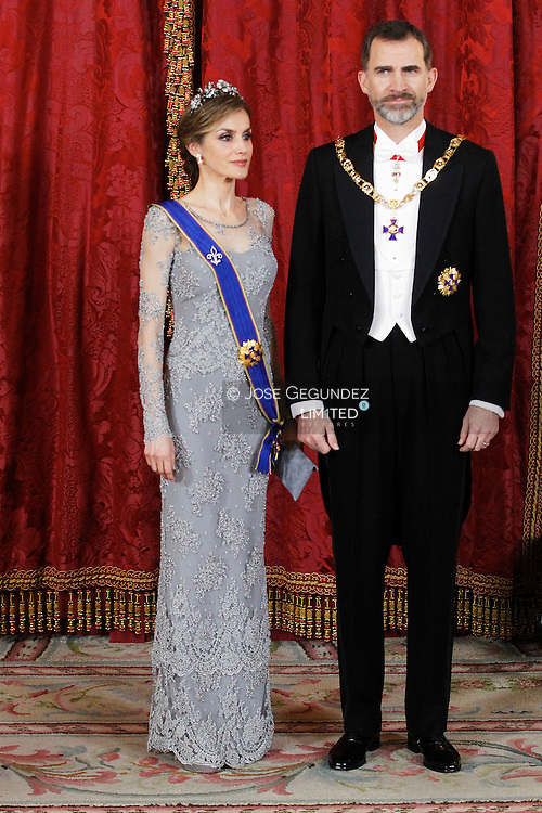 King Felipe VI of Spain and Queen Letizia of Spain host a Gala Dinner with Juan Manuel Santos and wife, Maria Clemencia Rodriguez de Santos at Palacio Real on March 2, 2015 in Madrid