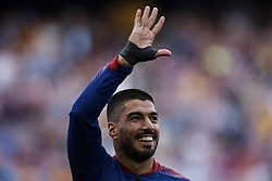 September 18, 2018 - Barcelona, Barcelona, Spain - Luis Suarez of FC Barcelona waves his hand prior to the UEFA Champions League group B match between FC Barcelona and PSV Eindhoven at Camp Nou on September 18, 2018 in Barcelona, Spain  (Credit Image: © David Aliaga/NurPhoto/ZUMA Press)