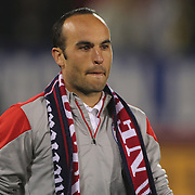 An emotional Landon Donovan, USA, after his farewell match during the USA Vs Ecuador International match at Rentschler Field, Hartford, Connecticut. USA. 10th October 2014. Photo Tim Clayton