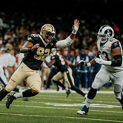 Aug 30, 2018; New Orleans, LA, USA; New Orleans Saints defensive end Marcus Davenport (92) rushes against Los Angeles Rams offensive tackle Darrell Williams (63) during the first half of a preseason game at the Mercedes-Benz Superdome. Mandatory Credit: Derick E. Hingle-USA TODAY Sports
