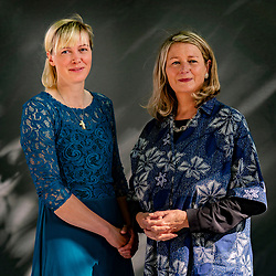 Edinburgh, Scotland, UK. 26 August 2019. Heida Asgeirsdottir (l) and Steinunn Sigurdardottir. These Icelandic authors have collaborated  on a book, Heida: A Shepherd at the Edge of the World, that describes caring for sheep in a remote Icelandic farm. Iain Masterton/Alamy Live News.