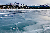 Abraham Lake frozen in winter, Alberta Canada