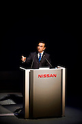 "******FOR MAGAZINE*******.Carlos Ghosn, president and CEO of Nissan Motor Co., addresses employees during a ""town hall"" meeting at the automaker's headquarters in Yokohama, Japan on Monday 19 Oct.  2009. .Photographer: Robert Gilhooly/Bloomberg News"