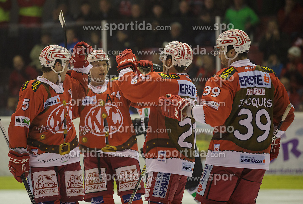 06.12.2015, Stadthalle, Klagenfurt, AUT, EBEL, EC KAC vs HDD TELEMACH Olimpija Ljubljana, 28. Runde, im Bild Jason DeSantis , (EC KAC, #5), Jamie Lundmark (EC KAC, #74), Manuel Geier (EC KAC, #21), Jean-François Jacques (EC KAC, #39) // during the Erste Bank Eishockey League 28th round match match betweeen EC KAC and HDD TELEMACH Olimpija Ljubljana at the City Hall in Klagenfurt, Austria on 2015/12/06. EXPA Pictures © 2015, PhotoCredit: EXPA/ Gert Steinthaler