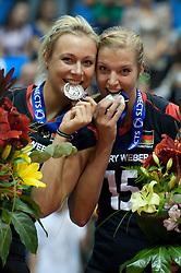 02.10.2011, Hala Pionir, Belgrad, SRB, Europameisterschaft Volleyball Frauen, Siegerehrung, im Bild Saskia Hippe (#13 GER / Chieri ITA), Maren Brinker (#15 GER / Pesaro ITA) // during the 2011 CEV European Championship, Awarding Ceremony at Hala Pionir, Belgrade, SRB, 2011-10-02. EXPA Pictures © 2011, PhotoCredit: EXPA/ nph/  Kurth       ****** out of GER / CRO  / BEL ******