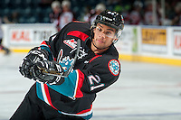 KELOWNA, CANADA - SEPTEMBER 28: Devante Stephens #21 of Kelowna Rockets warms up against the Prince George Cougars on September 28, 2016 at Prospera Place in Kelowna, British Columbia, Canada.  (Photo by Marissa Baecker/Shoot the Breeze)  *** Local Caption *** Devante Stephens;
