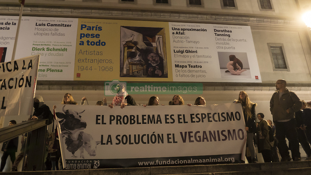 November 3, 2018 - Madrid, Madrid, Spain - Protesters are seen holding a banner during the protest..Hundreds of citizens have gathered in front of Reina Cristina museum in Madrid to protest in favor of the animal rights. (Credit Image: © Lora Grigorova/SOPA Images via ZUMA Wire)