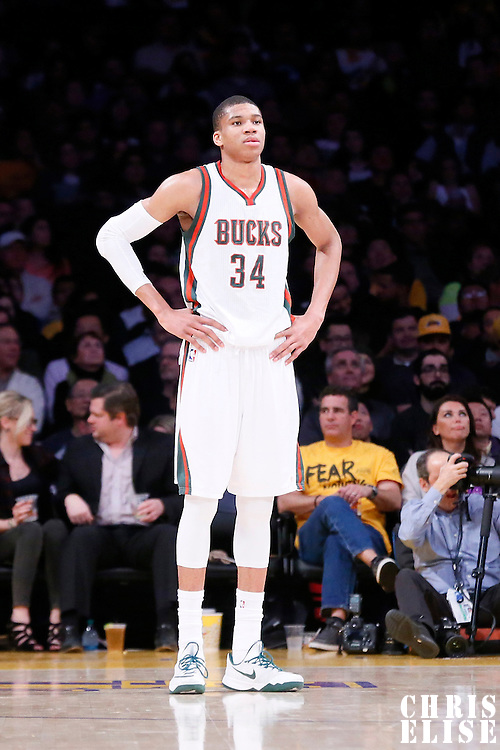 27 February 2015: Milwaukee Bucks forward Giannis Antetokounmpo (34) rests during the Los Angeles Lakers 101-93 victory over the Milwaukee Bucks, at the Staples Center, Los Angeles, California, USA.