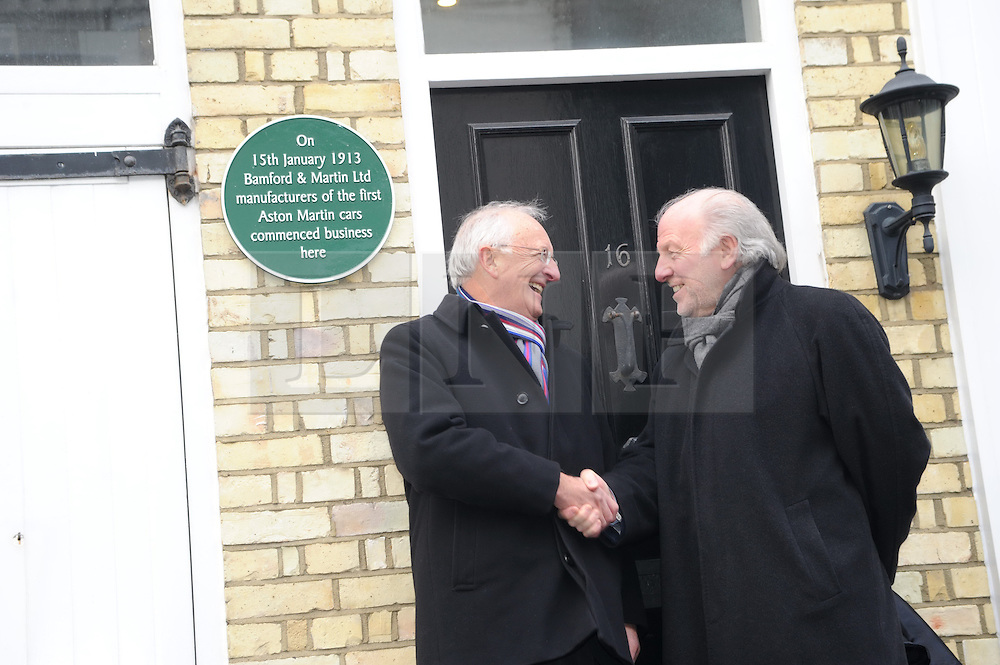 © Licensed to London News Pictures. 15/01/2013.The 100 years anniversary of Aston Martin.Plaque unveiling to mark 100th Anniversary of Aston Martin who started the company on this day (15thJanuary) in 1913 at this address(16 Henniker Mews, London, SW3 6BL).L/R, Roger Carey - Chairman of Aston Martin Heritage Trust & David Richards - Aston Martin Chairman..Photo credit : Grant Falvey/LNP
