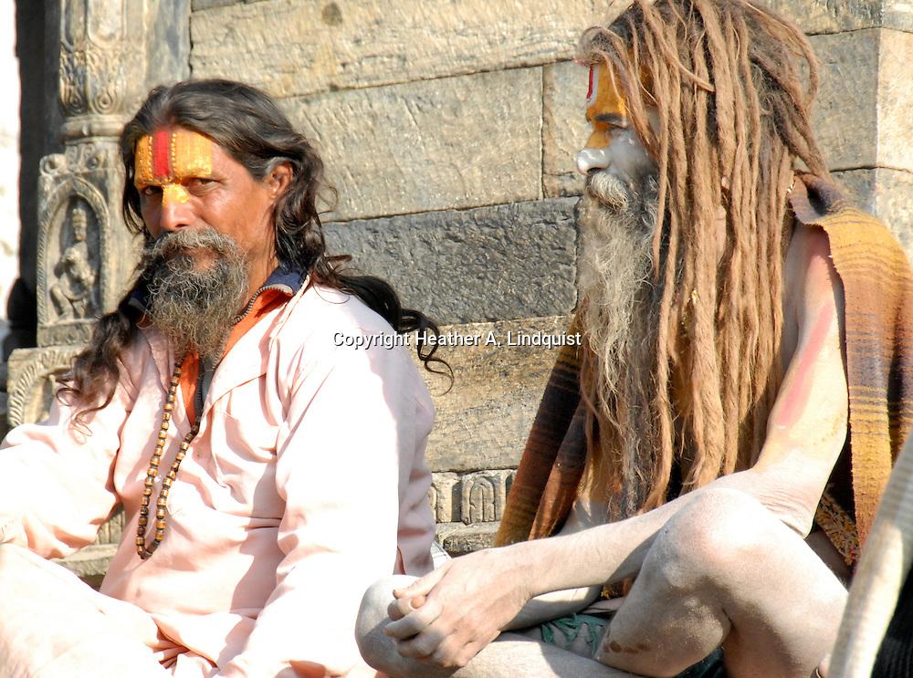 Indian Sadhus sitting at Pashupati Nepal.