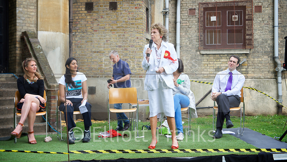 Vauxhall Hustings at St Mark's Church, Kennington, London, Great Britain <br /> 27th May 2017 <br /> <br /> <br /> <br /> Candidates:<br /> <br /> Pirate	Mark Chapman			<br /> Green	Gulnar Hasnain			<br /> Labour	Kate Hoey			<br /> Women's Equality	Harini Iyengar		<br /> <br /> <br /> Conservative	Dolly Theis	<br /> 		<br /> Liberal Democrat	George Turner<br /> <br /> <br /> Photograph by Elliott Franks <br /> Image licensed to Elliott Franks Photography Services Vauxhall Outdoor Hustings at St. Mark's Church, 337 Kennington Park Road, London SE11 4PW. A General Election hustings for the Vauxhall constituency has been called by Steve Coulson, the Vicar of St. Mark&rsquo;s Kennington, and Chair of the Friends of St. Mark&rsquo;s Churchyard. The outdoor event will take place at St Mark&rsquo;s on 18 April as part of the popular Oval Farmer&rsquo;s Market.