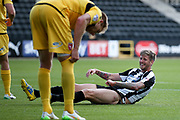 Notts County forward Jonathan Stead (30) sees the fury side of missing during the EFL Sky Bet League 2 match between Notts County and Morecambe at Meadow Lane, Nottingham, England on 9 September 2017. Photo by Simon Davies.