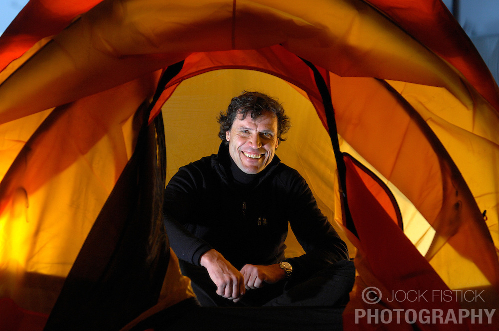 World renowned explorer Alain Hubert tests a new tent for his next expedition which will be to traverse the entire arctic basin. The expedition will take 4 to 5 months to complete. Photographed for Cine Tele Revue Magazine. (Photo © Jock Fistick)