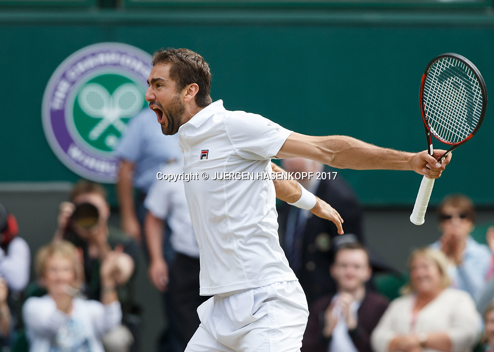 MARIN CILIC (CRO) jubelt nach seinem Sieg, Jubel,Freude,Emotion,<br /> <br /> Tennis - Wimbledon 2017 - Grand Slam ITF / ATP / WTA -  AELTC - London -  - Great Britain  - 14 July 2017.