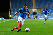 Gareth Evans (26) of Portsmouth on the attack during the Leasing.com EFL Trophy match between Oxford United and Portsmouth at the Kassam Stadium, Oxford, England on 8 October 2019.