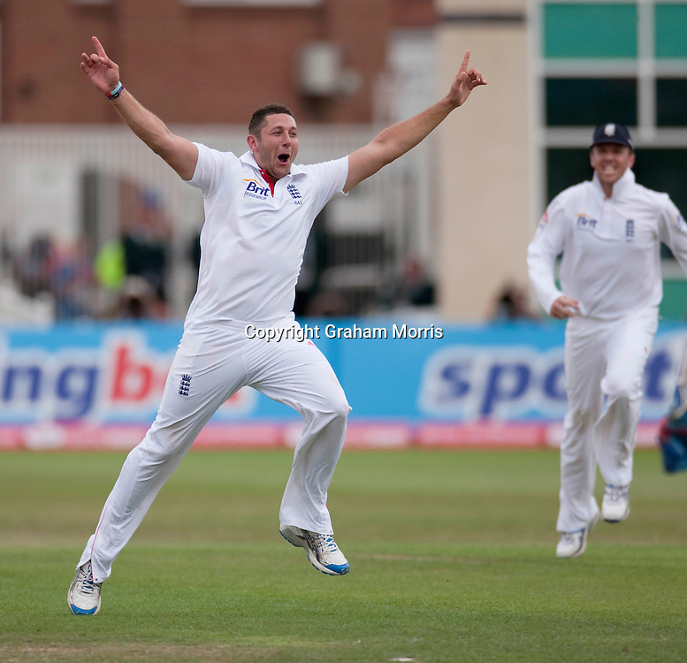 Tim Bresnan celebrates the first ball lbw of Mahendra Singh Dhoni during the second npower Test Match between England and India at Trent Bridge, Nottingham.  Photo: Graham Morris (Tel: +44(0)20 8969 4192 Email: sales@cricketpix.com) 01/08/11