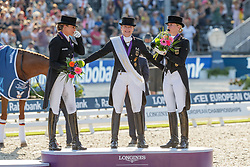 SCHNEIDER Dorothee (GER), WERTH Isabell (GER), VON BREDOW-WERNDL Jessica (GER)<br /> Rotterdam - Europameisterschaft Dressur, Springen und Para-Dressur 2019<br /> Siegerehrung<br /> Longines FEI Dressage European Championship Grand Prix Freestyle<br /> Grand Prix Kür<br /> 24. August 2019<br /> © www.sportfotos-lafrentz.de/Stefan Lafrentz
