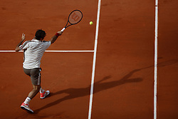 May 29, 2019 - Paris, France - Roger Federer of Switzerland volleys during his mens singles second round match against Oscar Otte of Germany during Day four of the 2019 French Open at Roland Garros on May 29, 2019 in Paris, France. (Credit Image: © Mehdi Taamallah/NurPhoto via ZUMA Press)
