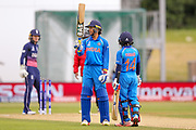 India womens cricket Smriti Mandhana gets her 50 and half century during the ICC Women's World Cup match between England and India at the 3aaa County Ground, Derby, United Kingdom on 24 June 2017. Photo by Simon Davies.