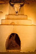 Bents Old Fort National Historic Site, La Junta, Colorado, buffalo skull, trade room, fireplace
