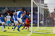 Macclesfield Town defender Theo Vassell shots at goal                                         during the EFL Sky Bet League 2 match between Macclesfield Town and Crawley Town at Moss Rose, Macclesfield, United Kingdom on 7 September 2019.