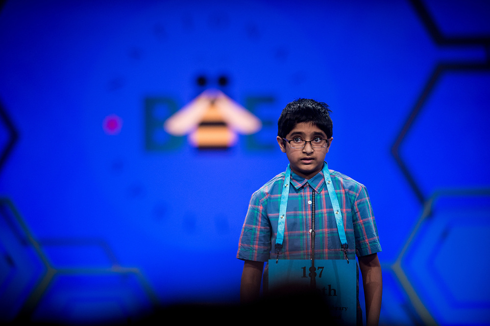 Saketh Sundar, 11, from Elkridge, Md., participates in the finals of the 2017 Scripps National Spelling Bee on Thursday, June 1, 2017 at the Gaylord National Resort and Convention Center at National Harbor in Oxon Hill, Md.      Photo by Pete Marovich/UPI