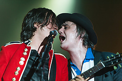 © Licensed to London News Pictures. 26/09/2014. London, UK.   The Libertines performing live at Alexandra Palace in the first of three UK dates, all at this venue.   In this picture - Pete Doherty (left), Carl Barat (right).  This follows a successful reunion gig at Hyde Park in July.   Photo credit : Richard Isaac/LNP