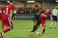 (L-R) Levi Garcia of AZ Alkmaar, Gaston Salasiwa of Almere City