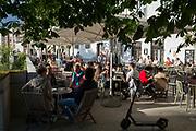 Riverside bars on both sides of Cankarjevo Nabrezje in the Slovenian capital, Ljubljana, on 25th June 2018, in Ljubljana, Slovenia.