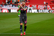 Leeds United defender Stuart Dallas (15) applauds the fans after the victory in the EFL Sky Bet Championship match between Bristol City and Leeds United at Ashton Gate, Bristol, England on 4 August 2019.