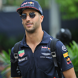Daniel Ricciardo, Infiniti Red Bull Racing.<br /> Day 3 of the 2017 Formula 1 Singapore airlines, Singapore Grand Prix, held at The Marina Bay street circuit, Singapore on the 16th September 2017.<br /> Wayne Neal | SportPix.org.uk