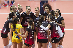 December 12, 2017 - Busto Arsizio, Varese, Italy - Team Yamamay e-work Busto Arsizio celebrates victory after the Women's CEV Cup match between Yamamay e-work Busto Arsizio and ZOK Bimal-Jedinstvo Brcko at PalaYamamay in Busto Arsizio, Italy, on 12 December 2017. Italian Yamamay e-work Busto Arsizio team defeats 3-0 Bosnian ZOK Bimal-Jedinstvo Brcko. (Credit Image: © Roberto Finizio/NurPhoto via ZUMA Press)