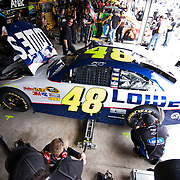 NASCAR Sprint Cup Series crew member working on Jimmie Johnson #48 car Friday, May. 13, 2011 during NASCAR Sprint Cup Series practice race at Dover International Speedway in Dover Delaware.