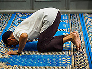 17 NOVEMBER 2017 - YANGON, MYANMAR: A Muslim man prays in a Shia mosque in Yangon.  Pope Francis is visiting Myanmar for three days in late November, 2017. He is participating in two Catholic masses and expected to address the Rohingya issue. The Rohingya are a persecuted Muslim ethnic minority in western Myanmar.        PHOTO BY JACK KURTZ
