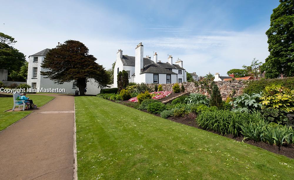 View of gardens at North Berwick Lodge, in East Lothian, Scotland, United Kingdom, UK