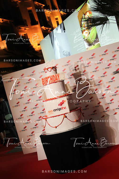 CANNES, FRANCE - APRIL 08:  50th Birthday Cake at the MIPTV 50th Anniversary : Opening Party at the Martinez Hotel on April 8, 2013 in Cannes, France.  (Photo by Tony Barson/Getty Images)