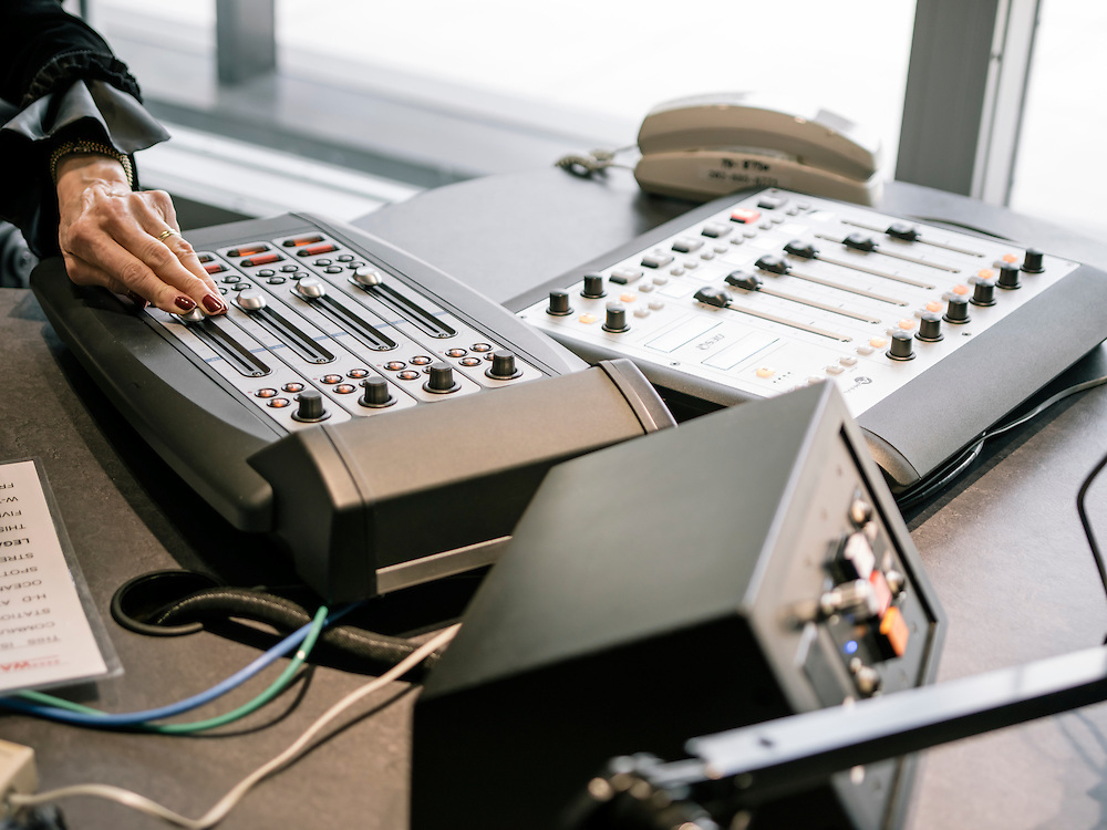 Diane Rehm, of the Diane Rehm show on NPR, controls the guest call-in volume at WAMU's studio at WAMU in Washington, D.C. on Feb. 5, 2015.