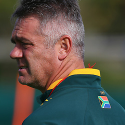 DURBAN, SOUTH AFRICA - AUGUST 04: Heyneke Meyer (Head Coach) of South Africa during the South Africa Springboks training session at Peoples Park on August 04, 2015 in Durban, South Africa. (Photo by Steve Haag/Gallo Images)